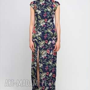 Sukienka maxi z rozcięciem, SUK140 kwiaty, sukienka, maxi, sexy, elegancka