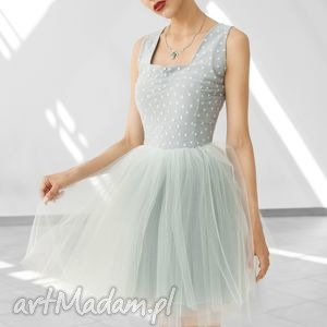 sukienka tiulowa w szarościach kam - wesele, studniówka, wieczorowa, tiulowa