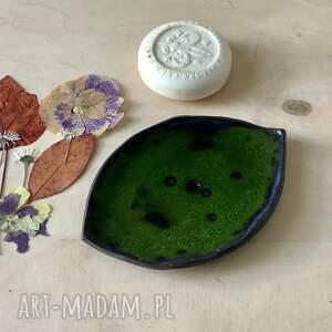 ręcznie wykonane ceramika we mchu mydelniczka ceramiczna robiona