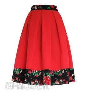 Czerwona spódnica folk z kontrafałdami MIDI, spódnica, folkowa, marima-folk, midi