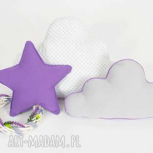 pokoik dziecka zestaw 3 poduch fioletowo-biały, chmurka, gwiazdka, fioletowa