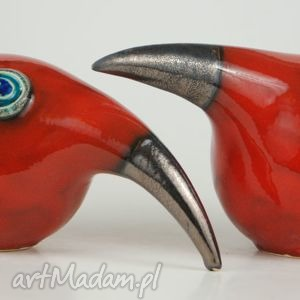 Wielki ptak patrzy - ,ceramika,figurki,zwierzęta,ptaki,