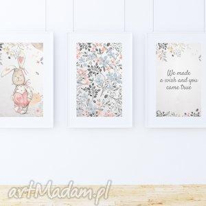 Zestaw 3 plakatów / WE MADE A WISH A4, zając, zajączek, króliczek, kwiaty, sentencja