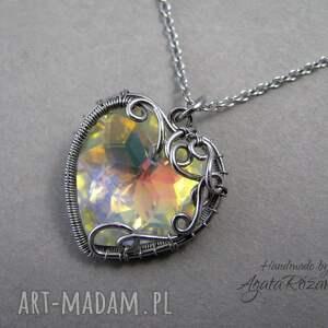 Wisiorek Swarovski Heart Crystal AB, wire wrapping, wisiorek, serce, swarovski