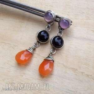 kropelki pomarańczy z kolorami - kolczyki, srebro biżuteria