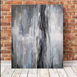 ABSTRAKCJA W SZAROŚCIACH-obraz akrylowy formatu 50/60 cm, obraz, akryl,