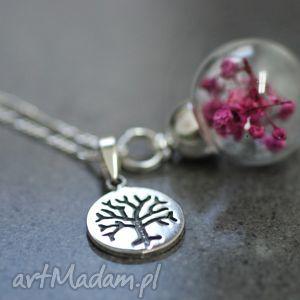 925 srebrny naszyjnik z kwiatami Gypsophila paniculata , kulka, kwiat, róż, lila
