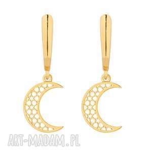 złote kolczyki z księżycami - księżyce, ażurowe