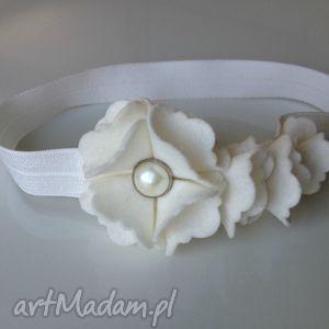 handmade dla dziecka opaska niemowlęca - kremowa perła
