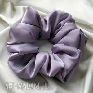 ręcznie zrobione ozdoby do włosów gumka luna jedwabna fioletowa