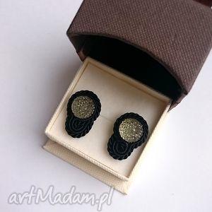 czarno-szare - mini kolczyki sutasz