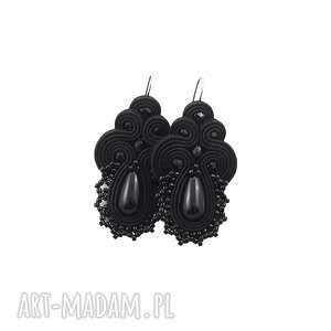 kolczyki soutache lace black, soutache, koronkowe, wieczorowe