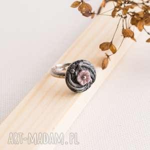retro pierścionek z różowym kwiatem, kwiat, retro, boho, pierścionek, polymerclay