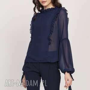 bluzki subtelna bluzka z falbanami, blu143 granat, zwiewna, falbany, bufy