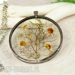 naszyjniki naszyjnik z suszonymi kwiatami w cynowej oprawie z437