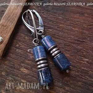 podwójnie niebieskie kolczyki z dumortierytów i srebra, dumorieryt, waeczki, srebro