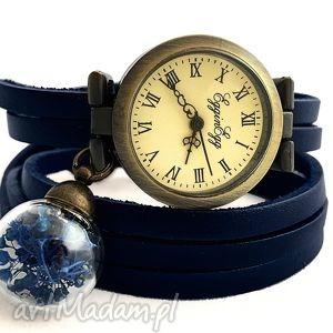 głęboki granat - zegarek bransoletka na skórzanym pasku