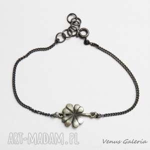 Bransoletka srebrna z koniczynką, srebro, oksyda, koniczynka, bransoletka, szczęście