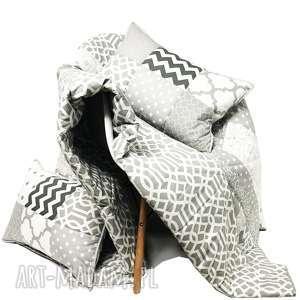 ręcznie robione koce i narzuty komplet s&s narzuta grey 160x210cm 4 poduszki