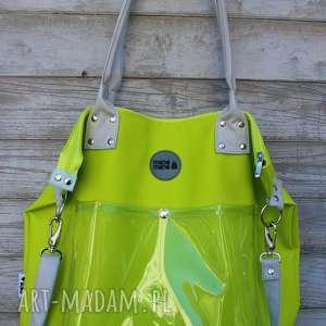 torba damska na ramię studencka limonka, worek, eko kóra, do szkoły, duża