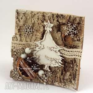 tworzone noca drewniana kartka bożonarodzeniowa, choinka, święta, drewno