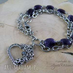 bransoletka ametyst iolit, wire wrapping, ametyst, bransoletka, wrapping