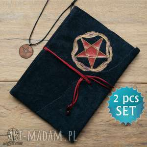 zestaw prezentowy pentagram - zeszyt a5 w skórzanej oprawie i wisiorek