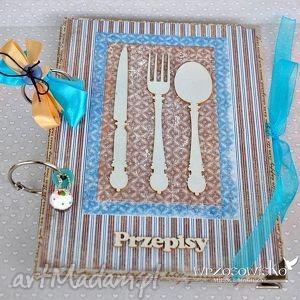 błękitne sztućce - przepisy, przepiśnik, kulinarny, sztućce, prezent, scrap