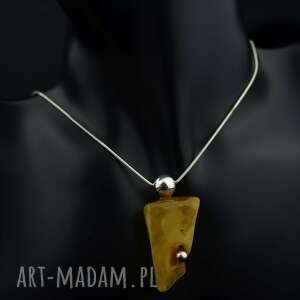 handmade naszyjniki naszyjnik z żółtym bursztynem srebro