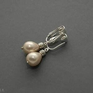 klipsy z perłą seashell, eleganckie, beżowe, wieczorowe, delikatne, kremowe