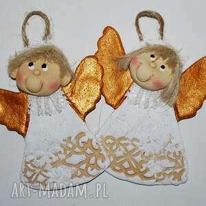 ręcznie wykonane pomysł na upominek ładny prezent - aniołki z masy