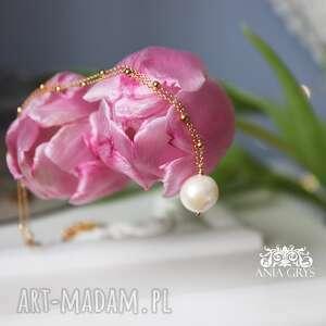 lady with pearl, wisiorek, pozłacany, naszyjnik, perła, aniagrys