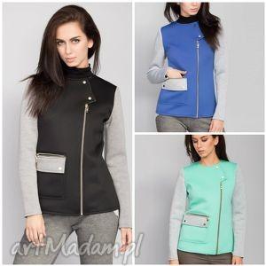 modna kurtka z kontrastowymi dŁugimi rĘkawami - kurtki, damskie, jesienne