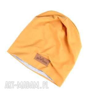 musztardowa czapka gładka unisex ciepła z bawełny - ciepła czapka, prezent