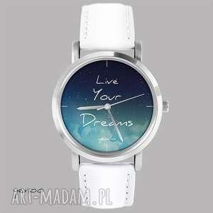 yenoo zegarek, bransoletka - live your dreams biały, skórzany