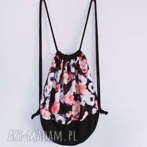 plecak worek XL kwiaty - ,plecak,worek,kwiaty,kordura,vintage,czarny,