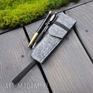 handmade etui na długopisy z gumką notes a5 - szare
