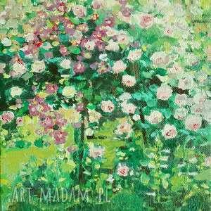 obraz olejny na płótnie pnące róże, malowany ręcznie, do salonu