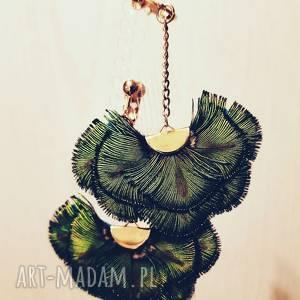 kolczyki wachlarze zielone, pióra, hippie, sesja, boho, wachlarz, ślub