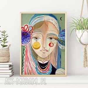 plakat 100x70 cm - dwa serduszka, plakat, wydruk, folk, ludowy, twarz