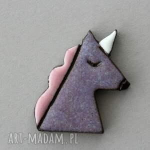 jednorożec - broszka ceramiczna, prezent, minimalizm, design, skandynawski