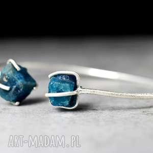apatyt 925 srebrna bransoletka - niebieskie bransoletki, minerał