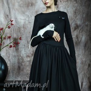 Rozkloszowana sukienka z haftowaną koronką, sukienka, rustic, rozkloszowana