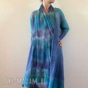 handmade szaliki lniany szal w kolorze morskim
