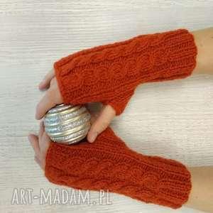 Mitenki, rękawiczki, rude, cieplutkie, mitenki, bez, palców, druty