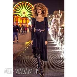 sukienki sukienka z poszerzanymi ramionami, asymetryczna, dopasowana, wygodna