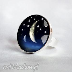 galavena moon -piękny nowoiczesny pierścionek, regulowany, granat, srebrny, duży