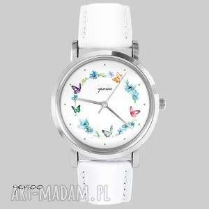handmade zegarki zegarek, bransoletka - kolorowy wianek - biały, skórzany