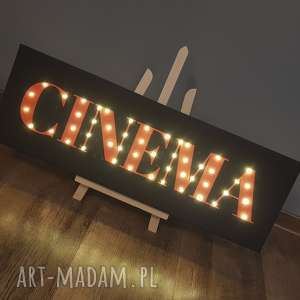 hand-made dekoracje świecący napis cinema film kino prezent dla niego fana kina