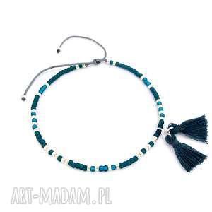 handmade bransoletka na kostkę - sea green